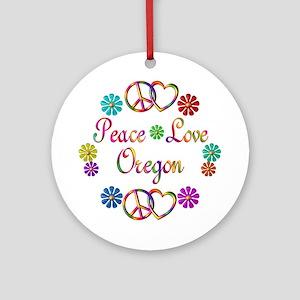 Peace Love Oregon Ornament (Round)