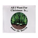 Xmas Peas on Earth Throw Blanket