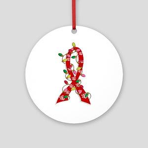 Christmas Lights Ribbon Heart Disease Ornament (Ro
