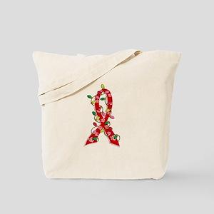 Christmas Lights Ribbon Heart Disease Tote Bag