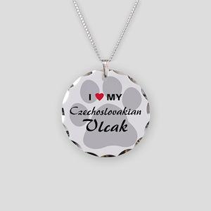 Czechoslovakian Vlcak Necklace Circle Charm