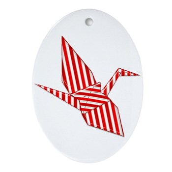 Origami Candy Cane Crane Ornament (Oval)
