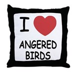 I heart angered birds Throw Pillow