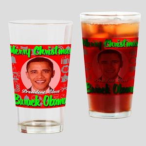 Merry Christmas Barack Obama Drinking Glass