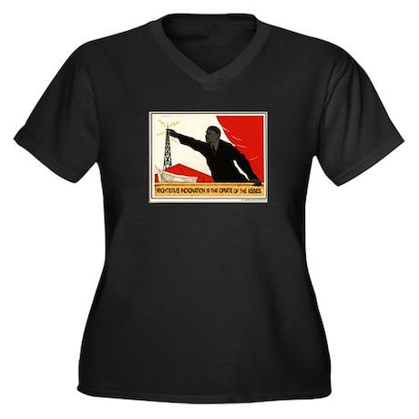 Women's Women's Plus Size V-Neck Dark T-Shirt
