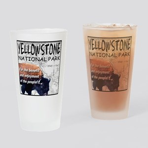 YNP Bison and Map Drinking Glass