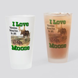 I Love Moose YNP Drinking Glass