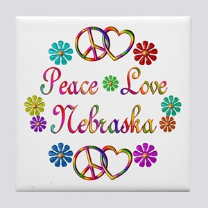Peace Love Nebraska Tile Coaster