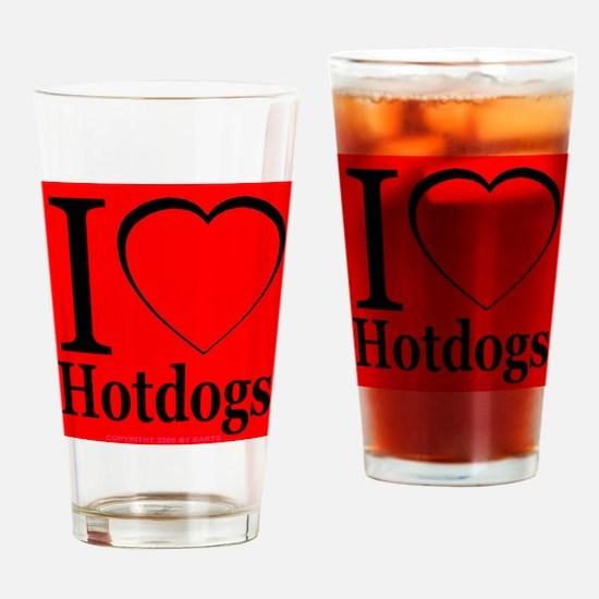 I Love Hotdogs Drinking Glass