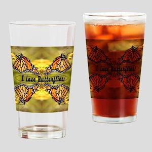 I Love Butterflies Drinking Glass