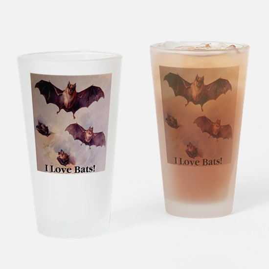 I Love Bats First Edition Drinking Glass