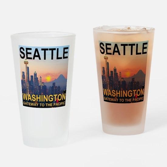 Seattle WA Skyline Graphics Sunset Drinking Glass