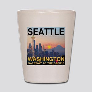 Seattle WA Skyline Graphics Sunset Shot Glass