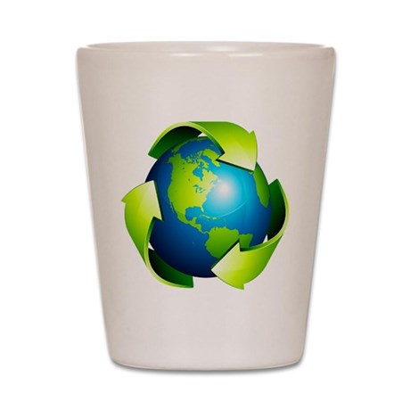 Recycle Blue Planet Symbol Shot Glass