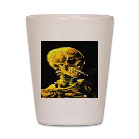 Smoking Skull van Gogh 1853-1 Shot Glass