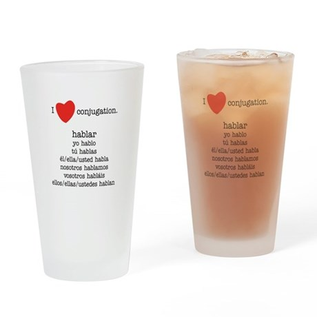 I heart conjugation Drinking Glass