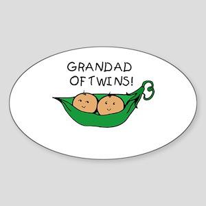 Grandad of Twins Pod Oval Sticker