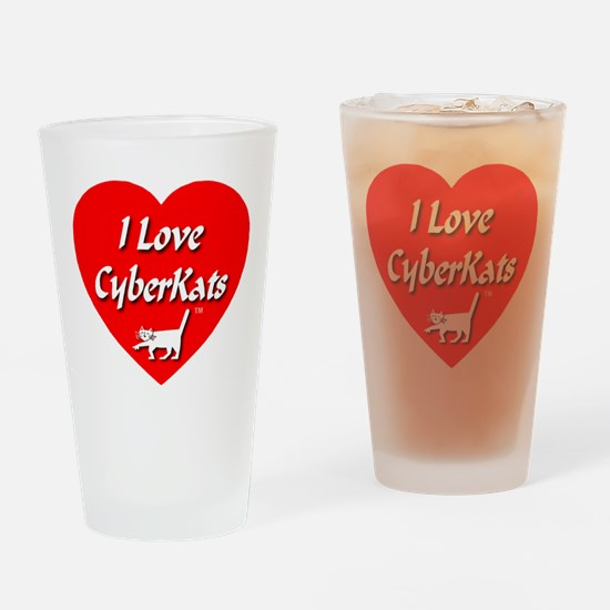 I Love CyberKats (TM) Drinking Glass