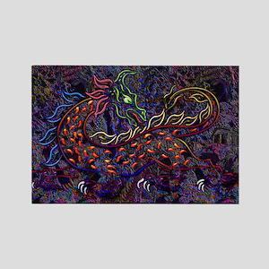 Fancy Neon Medieval Lion & Wo Rectangle Magnet