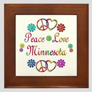 Peace Love Minnesota Framed Tile