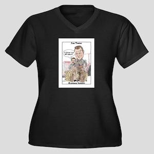 """""""Tester 2"""" Women's Plus Size V-Neck Dark T-Shirt"""