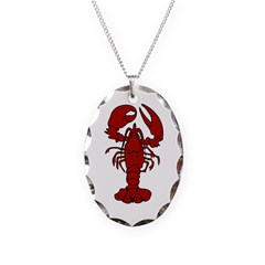 Lobster Necklace Oval Charm