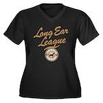 Long Ear League Women's Plus Size V-Neck Dark T-Sh