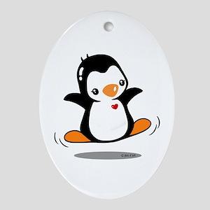 Happy Penguin (2) Ornament (Oval)