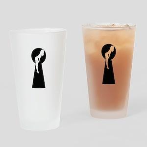 Sexy girl keyhole Drinking Glass