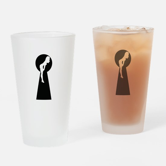 Sexy girl keyhole Drinking Glass