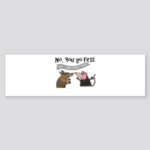 Armadillo and Possum Cartoon Bumper Sticker