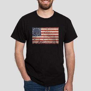 13 Colonies US Flag Distresse Dark T-Shirt