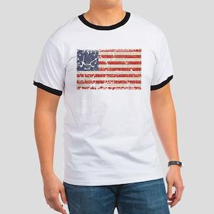 13 Colonies US Flag Distresse Ringer T