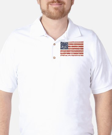 13 Colonies US Flag Distresse Golf Shirt