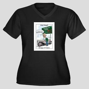 """Dingle 2"" Women's Plus Size V-Neck Dark T-Shirt"