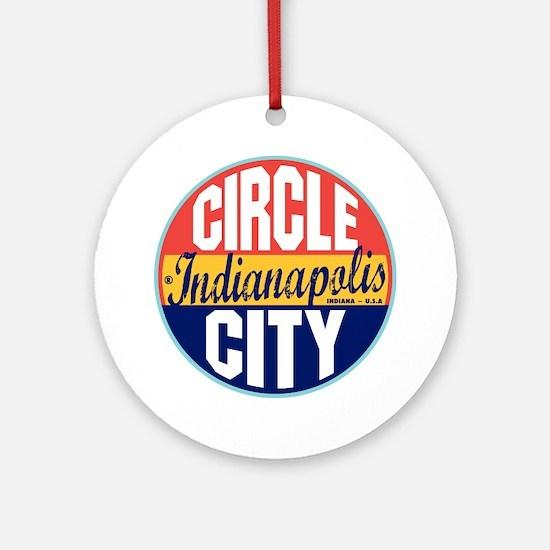 Indianapolis Vintage Label Ornament (Round)