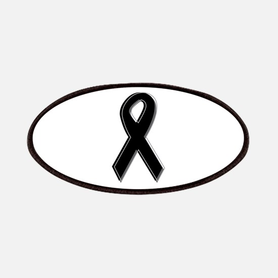 Black Awareness Ribbon Patches