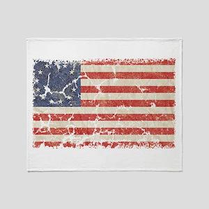 13 Colonies US Flag Distresse Throw Blanket