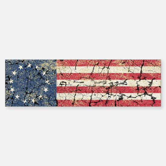 13 Colonies US Flag Distresse Sticker (Bumper)