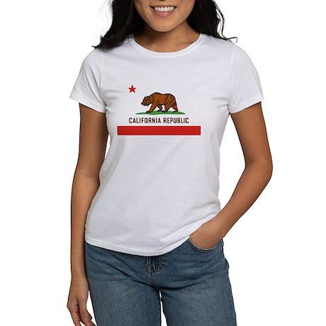 California State Bear Flag Women's White T-Shirt