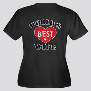 World's Best Wife Women's Plus Size V-Neck Dark T-