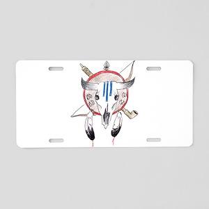 Indian Buffalo Skull Aluminum License Plate