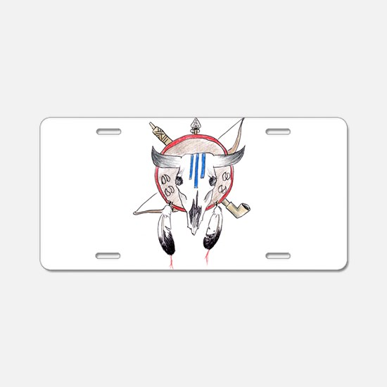 Indian Buffalo Skull Aluminum License Plate