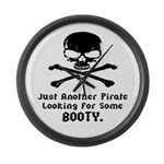 Pirate Looking For Booty Large Wall Clock