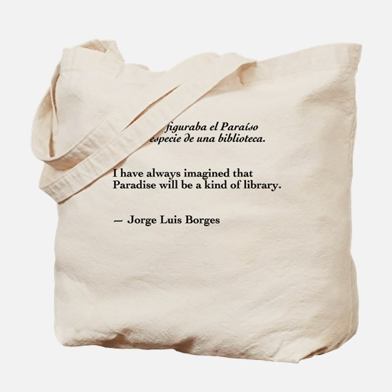 Borges library quote-Bilingual Tote Bag