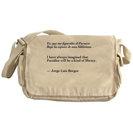 Borges library quote-Bilingual Messenger Bag