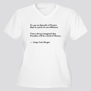 Borges library quote-Bilingual Women's Plus Size V