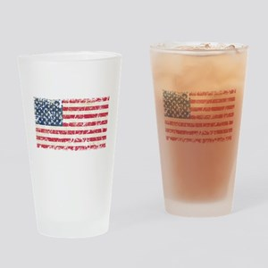 US Flag Distressed Drinking Glass