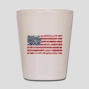 US Flag Distressed Shot Glass