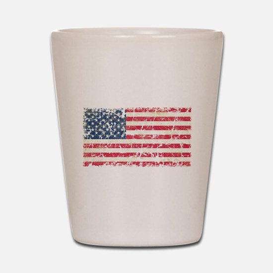 US Flag Distressed Shot Glass
